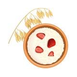 Νόστιμο oatmeal με τα μούρα και τα αυτιά βρωμών του σιταριού Τοπ όψη Κινηματογράφηση σε πρώτο πλάνο Στοκ Εικόνες