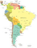 Νότια Αμερική - χάρτης - απεικόνιση Στοκ Φωτογραφία