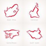 Νότια Αφρική, Καμερούν, Γουινέα-Μπισσάου και Νότιο Σουδάν - χάρτης περιλήψεων Στοκ Εικόνες