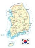 Νότια Κορέα - λεπτομερής τοπογραφικός χάρτης - απεικόνιση Στοκ Φωτογραφία