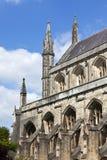 Νότια πρόσοψη και κώνοι του καθεδρικού ναού του Winchester Στοκ Φωτογραφίες
