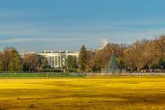 Νότιος χορτοτάπητας Λευκών Οίκων, εθνικό χριστουγεννιάτικο δέντρο Washington DC στοκ φωτογραφία