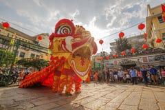 Νότιος χορός λιονταριών στη τελετή έναρξης ματιών, γυναικεία Thien Hau παγόδα, Βιετνάμ Στοκ Εικόνες