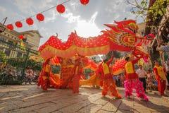 Νότιος χορός λιονταριών στη τελετή έναρξης ματιών, γυναικεία Thien Hau παγόδα, Βιετνάμ Στοκ Εικόνα