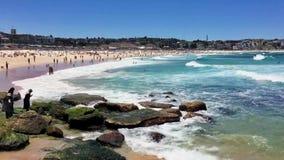Νότιο τέλος παραλιών Bondi, Σίδνεϊ Αυστραλία απόθεμα βίντεο