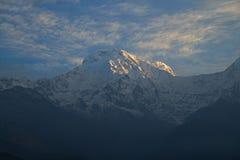 Νότος και Hiunchuli Annapurna στο ηλιοβασίλεμα Φ Στοκ εικόνα με δικαίωμα ελεύθερης χρήσης