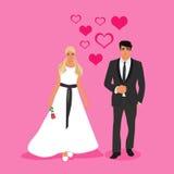 Νύφη και νεόνυμφος με τις καρδιές, διανυσματική απεικόνιση Στοκ Εικόνες