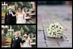 Νύφη και νεόνυμφος που έχουν μια ρομαντική στιγμή Στοκ Εικόνες