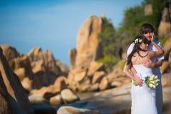 Νύφη και νεόνυμφος που αγκαλιάζουν ήπια στην όμορφη ακτή στοκ φωτογραφία