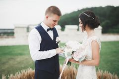 Νύφη και νεόνυμφος που ανταλλάσσουν τα γαμήλια δαχτυλίδια Μοντέρνη επίσημη τελετή ζευγών Στοκ εικόνες με δικαίωμα ελεύθερης χρήσης