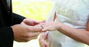 Νύφη και νεόνυμφος που ανταλλάσσουν τα γαμήλια δαχτυλίδια φιλμ μικρού μήκους