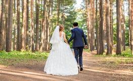 Νύφη και νεόνυμφος που περπατούν μακριά στο θερινό πάρκο υπαίθρια Στοκ φωτογραφίες με δικαίωμα ελεύθερης χρήσης