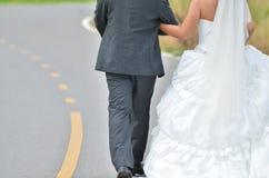 Νύφη και νεόνυμφος που περπατούν μακριά Στοκ Εικόνες