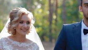 Νύφη και νεόνυμφος που περπατούν στο ξύλο απόθεμα βίντεο