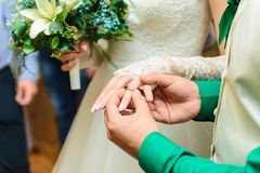 Νύφη και νεόνυμφος που φορούν τα γαμήλια δαχτυλίδια στοκ φωτογραφία με δικαίωμα ελεύθερης χρήσης