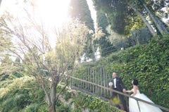 Νύφη και νεόνυμφος στα σκαλοπάτια Στοκ Φωτογραφία