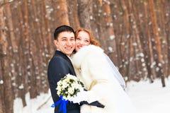 Νύφη και νεόνυμφος στα χειμερινά ξύλα στοκ εικόνες