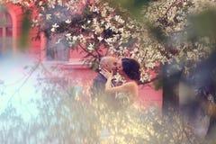 Νύφη και νεόνυμφος στην άνοιξη Στοκ Φωτογραφία