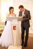 Νύφη και νεόνυμφος στην εγγραφή στοκ εικόνα
