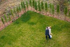 Νύφη και νεόνυμφος στην πράσινη χλόη Στοκ Φωτογραφίες