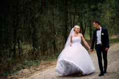 Νύφη και νεόνυμφος στη ημέρα γάμου που αγκαλιάζουν υπαίθρια στη φύση άνοιξη στοκ φωτογραφία με δικαίωμα ελεύθερης χρήσης