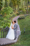 Νύφη και νεόνυμφος στη ημέρα γάμου που περπατούν υπαίθρια στη φύση άνοιξη Νυφικό ζεύγος, Στοκ Εικόνα