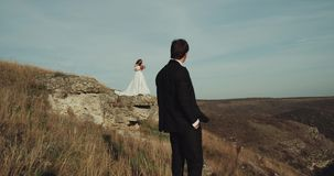 Νύφη και νεόνυμφος στη μέση του βουνού που κοιτάζουν ο ένας στον άλλο απόθεμα βίντεο