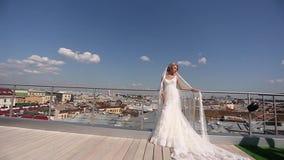Νύφη και νεόνυμφος στη στέγη απόθεμα βίντεο