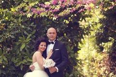 Νύφη και νεόνυμφος στη φύση Στοκ Εικόνες