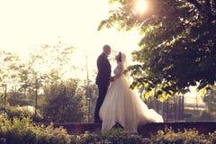 Νύφη και νεόνυμφος στον ήλιο Στοκ φωτογραφίες με δικαίωμα ελεύθερης χρήσης