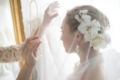 Νύφη και οι φίλοι τους εκείνη η φθορά ένα πέπλο Στοκ φωτογραφία με δικαίωμα ελεύθερης χρήσης