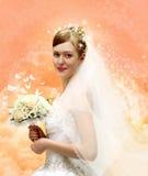 Νύφη με το κολάζ ανθοδεσμών στοκ φωτογραφίες