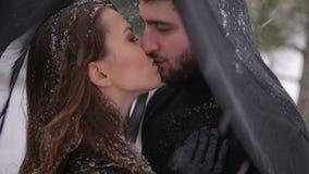 Νύφη με το μαύρο πέπλο και ο νεόνυμφος στο χιόνι φιλμ μικρού μήκους