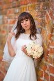 Νύφη με το χαμόγελο πέπλων Στοκ Φωτογραφίες