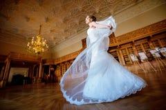 Νύφη ομορφιάς στη νυφική εσθήτα με το πέπλο δαντελλών στο εσωτερικό Στοκ εικόνα με δικαίωμα ελεύθερης χρήσης