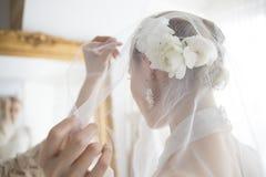 Νύφη που φορά ένα πέπλο Στοκ εικόνα με δικαίωμα ελεύθερης χρήσης