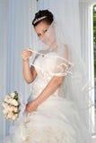 νύφη που χαμογελά υπαίθρι& Στοκ Φωτογραφίες