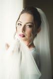 Νύφη πολυτέλειας στο πρωί της ημέρας γάμου Στοκ εικόνα με δικαίωμα ελεύθερης χρήσης