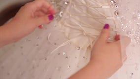Νύφη πρωινού κορίτσι της τιμής που βοηθά τη νύφη με το φόρεμά της η δαντέλλα νυφών ` s ντύνει επάνω Δένοντας τόξο παράνυμφων επάν απόθεμα βίντεο
