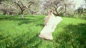 Νύφη σε ένα τρέξιμο κήπων άνθισης Apple φιλμ μικρού μήκους