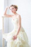 Νύφη στο γαμήλιες φόρεμα και τη σκάλα Στοκ εικόνα με δικαίωμα ελεύθερης χρήσης