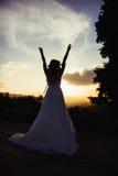 Νύφη στο ηλιοβασίλεμα, στη φύση Στοκ Εικόνες