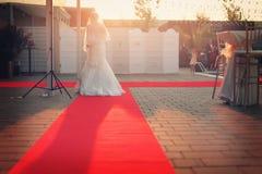 Νύφη στο κόκκινο χαλί Στοκ Εικόνες
