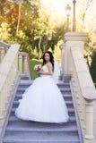 Νύφη Brunette σε ένα άσπρο φόρεμα στη ημέρα γάμου Στοκ φωτογραφία με δικαίωμα ελεύθερης χρήσης