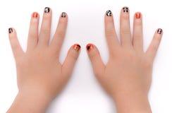 Νύχια που χρωματίζονται καλλιτεχνικά για Hwlloween Στοκ εικόνα με δικαίωμα ελεύθερης χρήσης