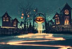 Νύχτα αποκριών με την κολοκύθα και τα συχνασμένα σπίτια ελεύθερη απεικόνιση δικαιώματος