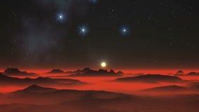 Νύχτα, αστέρια και αλλοδαπός πλανήτης απεικόνιση αποθεμάτων