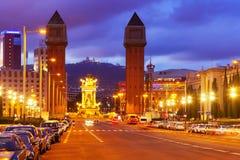 Νύχτα. Βαρκελώνη, Ισπανία Στοκ φωτογραφία με δικαίωμα ελεύθερης χρήσης