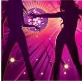 νύχτα δύο κοριτσιών χορού &lambda Στοκ εικόνα με δικαίωμα ελεύθερης χρήσης