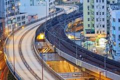 Νύχτα εθνικών οδών κυκλοφορίας, Χονγκ Κονγκ Στοκ Εικόνες
